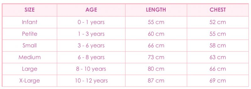 Amabelle fairy dress size chart