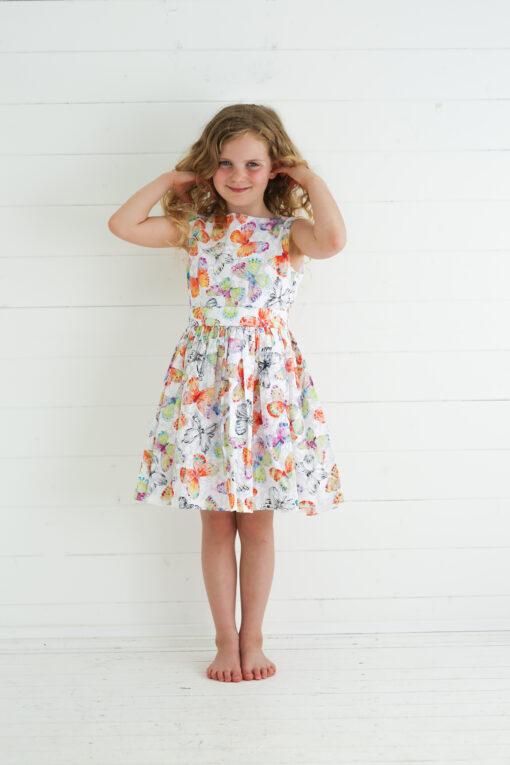 orange butterfly dress