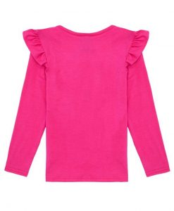 Bright Pink Long Sleeve Script T-shirt