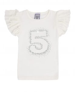 Cream Short Sleeve No. 5 Birthday T-shirt