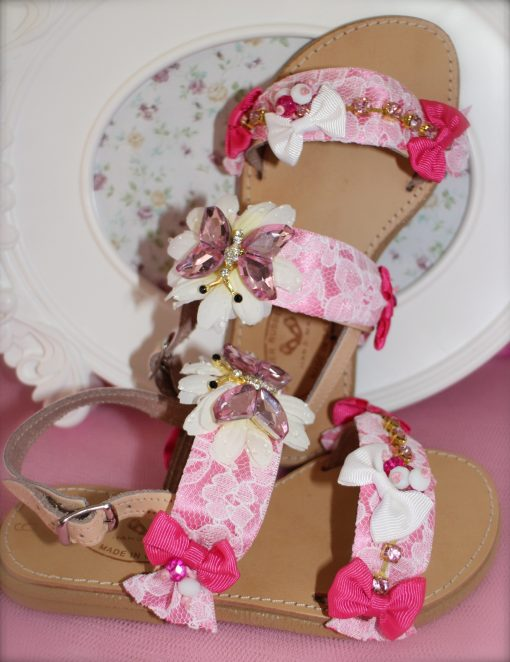 Pink Butterfly Leather Sandals
