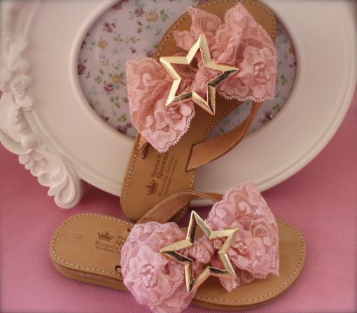 Light Pink Bow & Star Leather Sandals