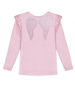 Rose Pink Long Sleeve Wings T-shirt