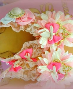 Pink Flower & Crown Leather Sandals