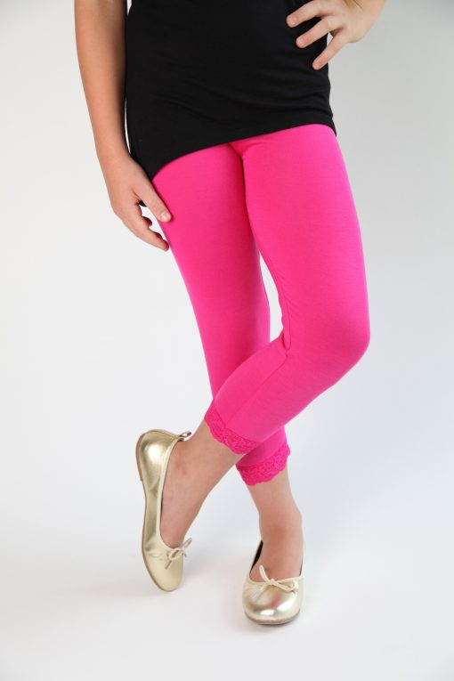 Bright Pink Lace Trim Leggings