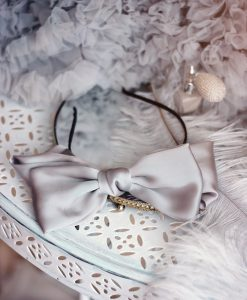"""Amabelle"" Silver Grey Silk Bow Hairband"