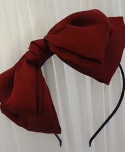 """Amabelle"" Ruby Red Silk Bow Hairband"