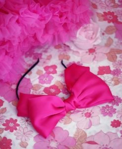 """Amabelle"" Fuchsia Silk Bow Hairband"