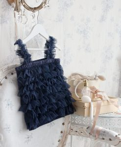 """Amabelle"" Navy Ruffle Top"