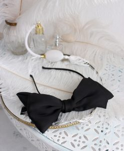 """Amabelle"" Black Silk Bow Hairband"