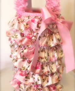 Pink Satin Floral Vintage Petti Romper