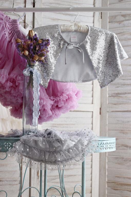"""Amabelle"" Silver Sequin Capelet"