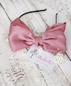 """Amabelle"" Dusty Pink Silk Bow Hairband"
