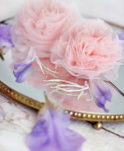 """Amabelle"" Rose Pink Chiffon Rosette"