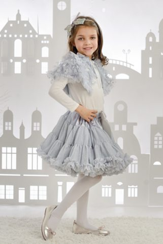 """Amabelle"" Silver Ruffled Capelet"