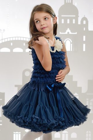 """""""Amabelle"""" Navy Ruffle Top"""