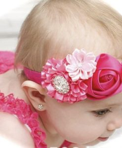 Fuchsia & Pink Satin Flowers headband