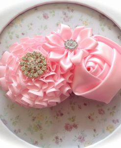 Pink Satin Flowers headband