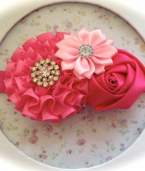 Fuchsia & Pink Satin Flowers headband
