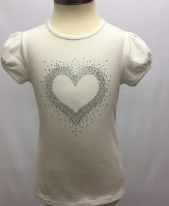 Off-White Cap sleeve Top with Heart Rhinestones