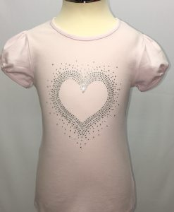 Light Pink Cap sleeve Top with Heart Rhinestones